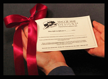Hat gift certificates available at MAGGIE MAE DESIGNS®