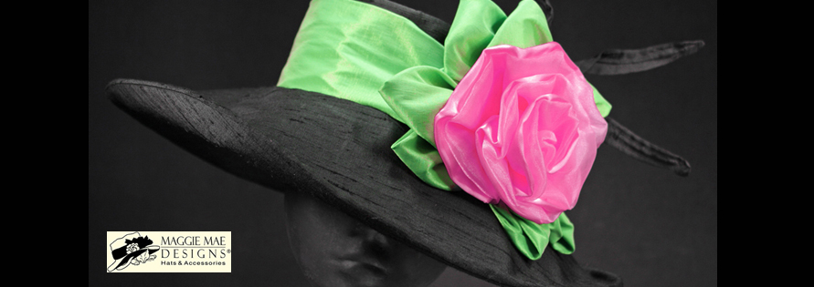 Liza der13 132 black silk ladies derby hat with large hot pink maggie mae designs custom hats for women image mightylinksfo